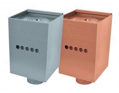 Wassersammelkasten eckig Design Notüberlauf Kupfer Ugitop Uginox Edelstahl